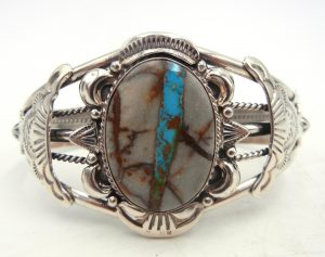 Navajo Royston Ribbon (Boulder) turquoise and sterling silver cuff bracelet