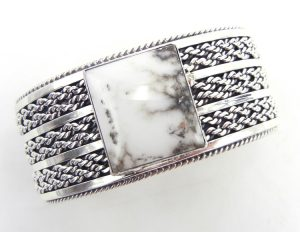 Navajo wide band sterling silver and white buffalo cuff bracelet