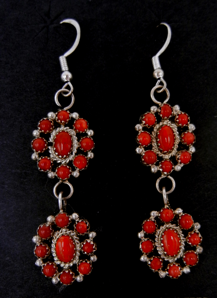 Navajo coral and sterling silver double rosette earrings by Nate Curley