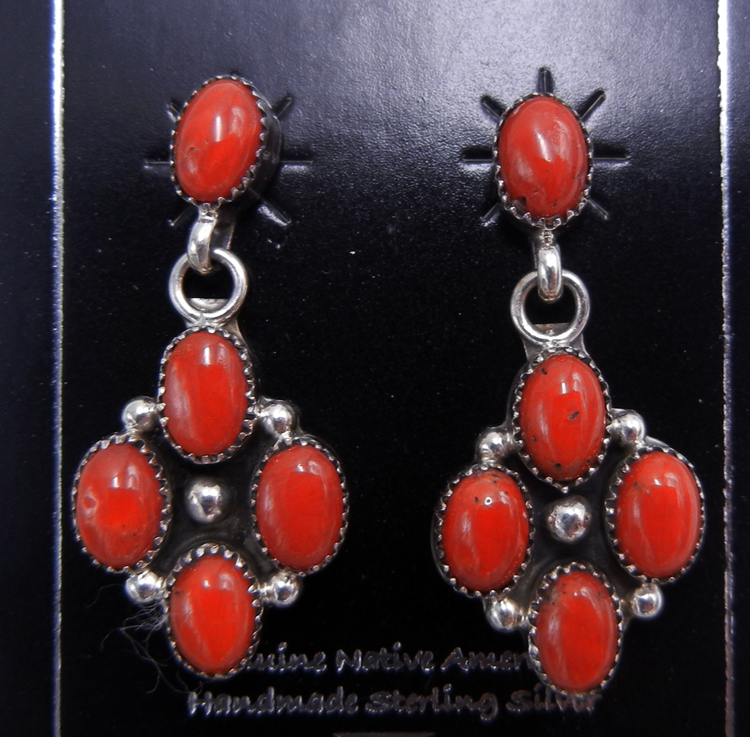 Navajo small coral and sterling silver dangle earrings
