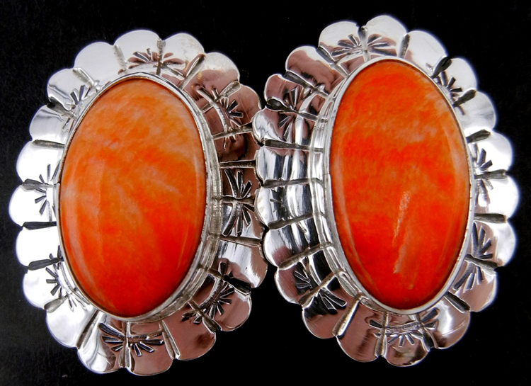 Navajo orange spiny oyster shell and sterling silver concho style earrings