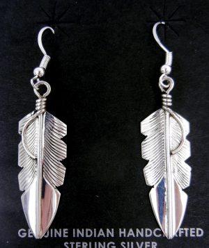 Navajo sterling silver feather dangle earrings