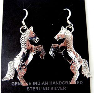 Navajo stamped sterling silver horse dangle earrings