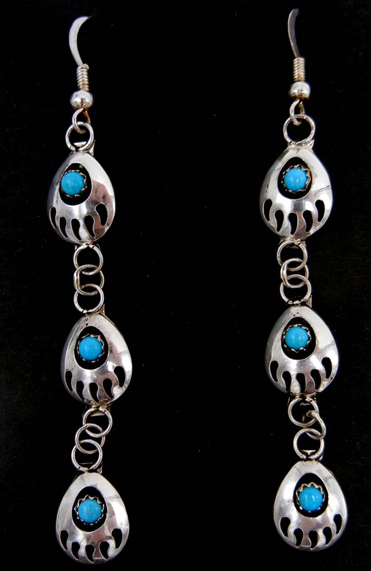 Navajo sterling silver and turquoise triple bear paw dangle earrings