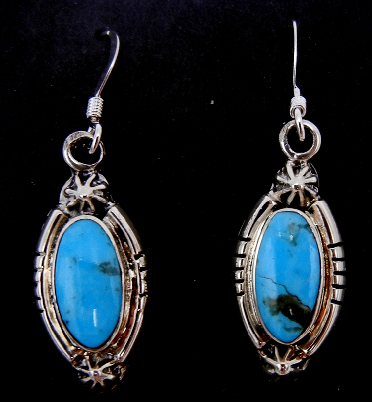 Navajo small turquoise and sterling silver dangle earrings