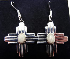 Navajo white lab opal and sterling silver Zia symbol earrings