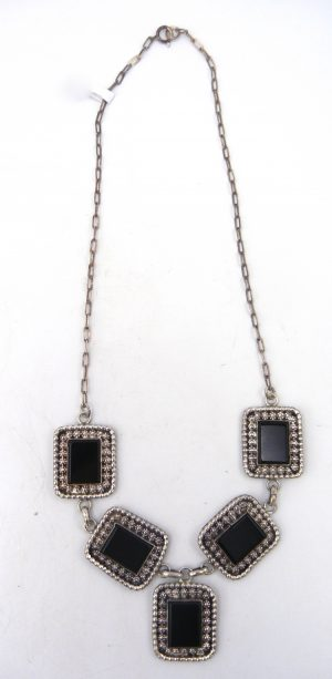Navajo onyx and sterling silver necklace