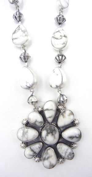 Navajo Howlite and sterling silver necklace and earring set by Rydell Billie