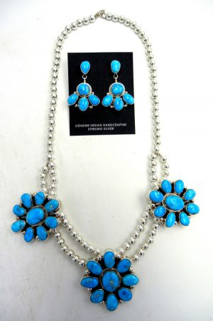 Navajo Kingman turquoise cluster and sterling silver necklace and earring set