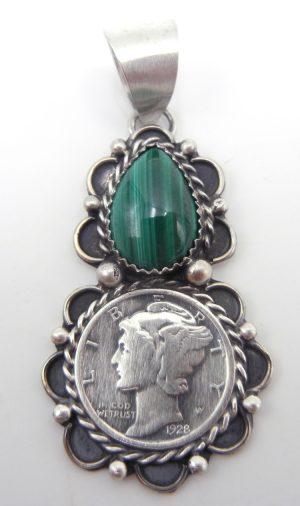Navajo malachite, liberty dime, and sterling silver pendant