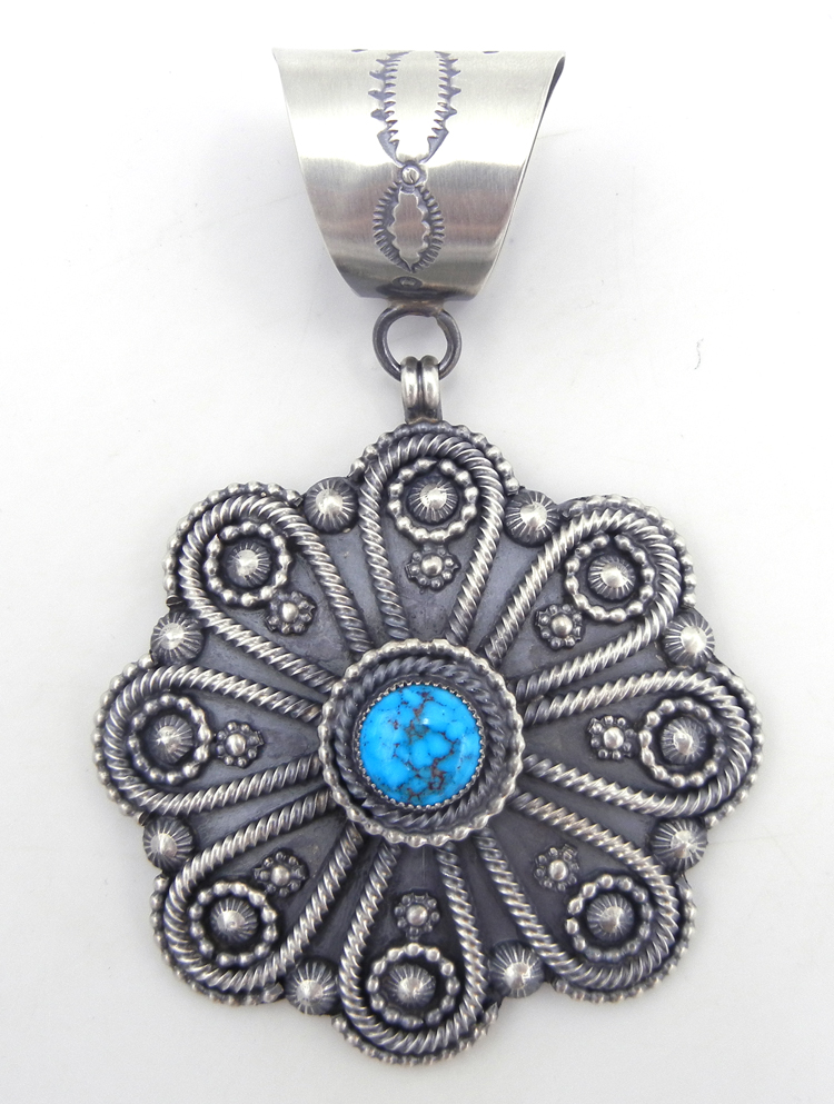 Navajo brushed sterling silver applique and turquoise pendant