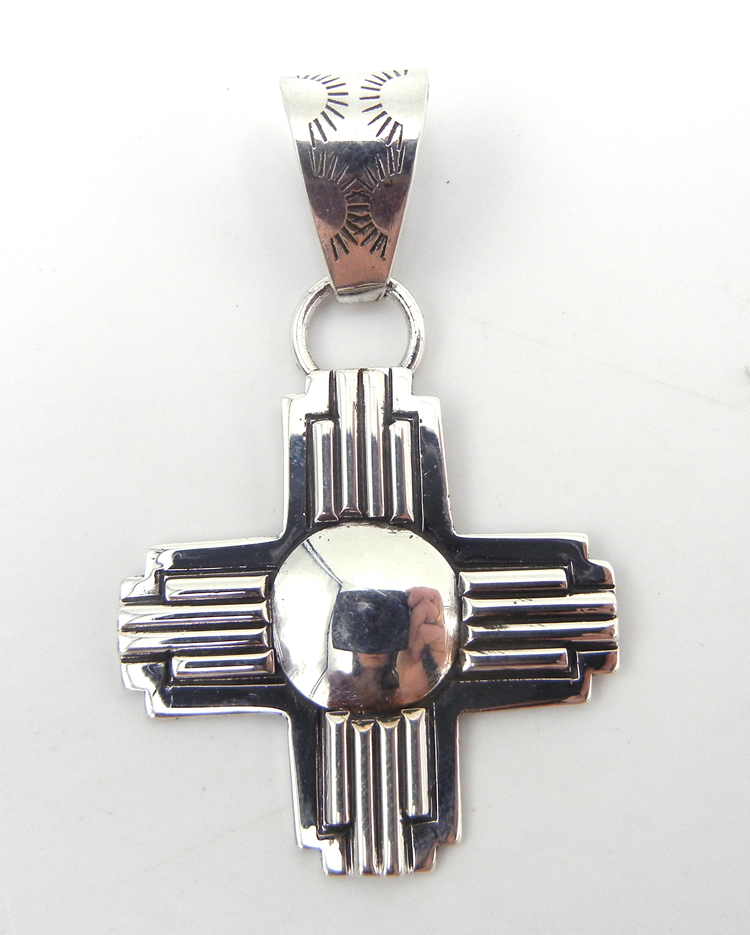 Navajo sterling silver Zia symbol pendant by Randy Secatero