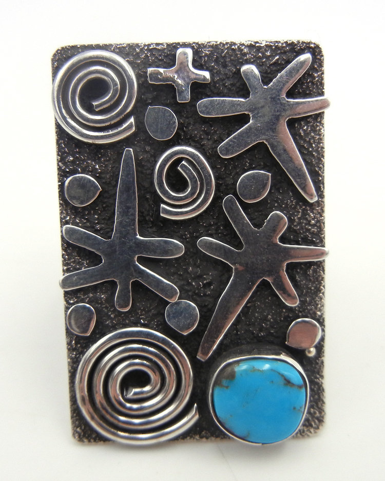 Navajo sterling silver and turquoise petroglyph style ring by Alex Sanchez