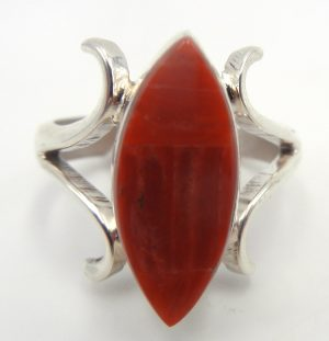 Navajo red spiny oyster shell and sandcast sterling silver ring