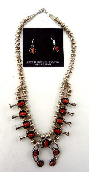 Navajo small coral and sterling silver squash blossom necklace and earring set