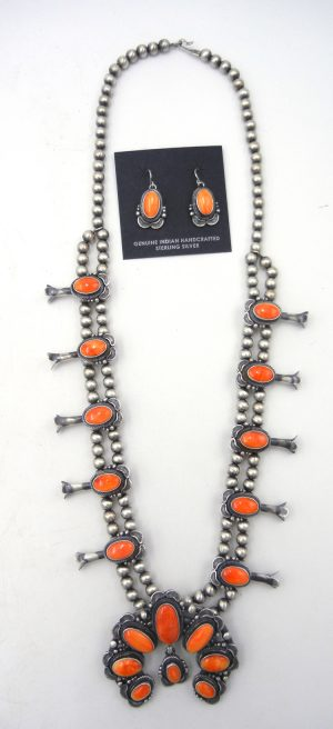 Navajo brushed sterling silver and orange spiny oyster shell squash blossom necklace and earring set by Thomas Francisco