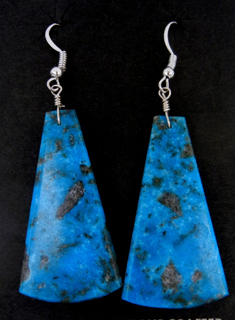 Santo Domingo turquoise slab earrings by Lupe Lovato