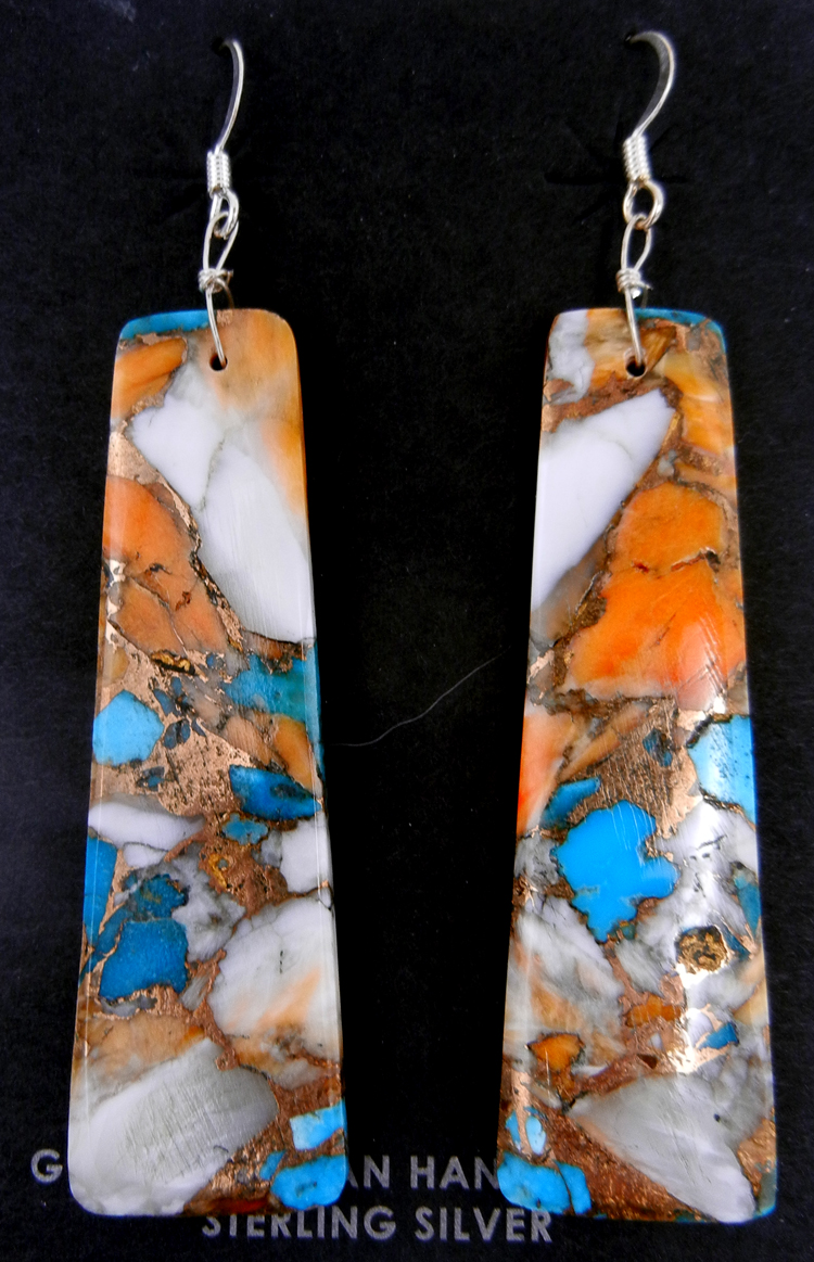 Santo Domingo compressed orange spiny oyster shell and turquoise slab earrings by Veronica Tortalito
