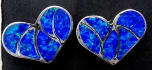 Zuni blue lab opal and sterling silver inlay heart earrings