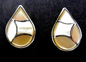 Zuni golden mother of pearl and sterling silver inlay tear drop earrings