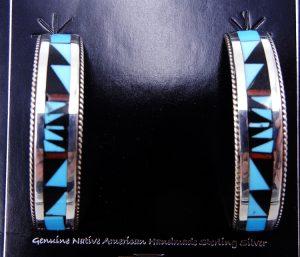 Zuni multi-stone inlay and sterling silver half hoop earrings