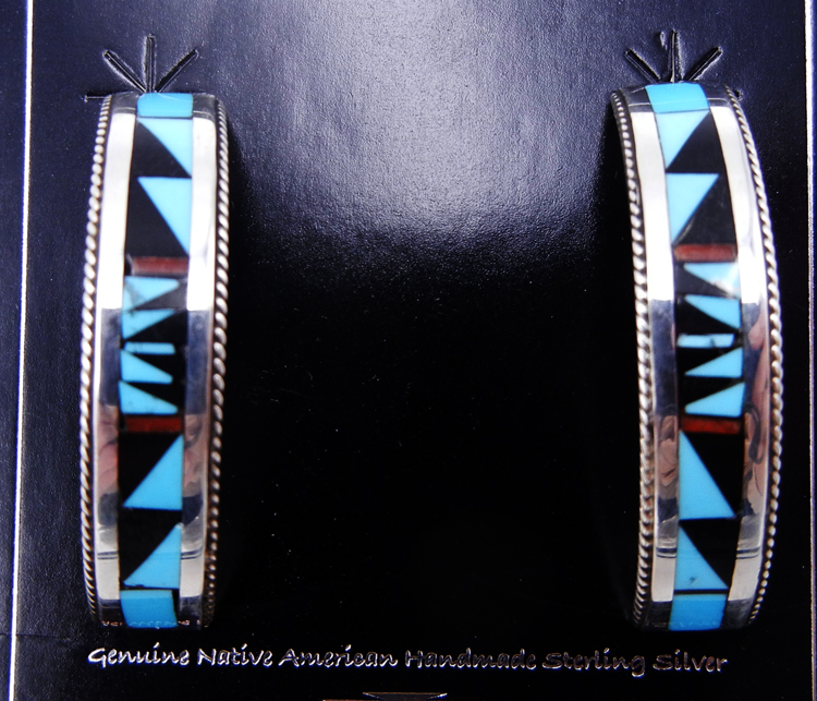 Zuni multi-stone inlay and sterling silver half hoop earrings