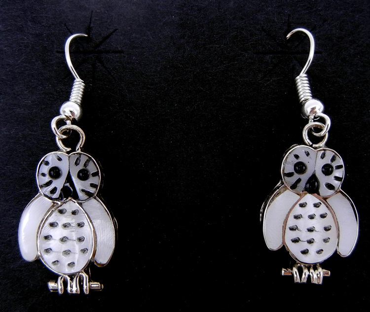 Zuni white mother of pearl, jet, and sterling silver inlay owl dangle earrings