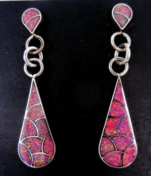 Zun pink lab opal and sterling silver inlay dangle earrings