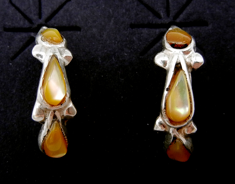 Zuni small golden mother of pearl and sterling silver half hoop earrings