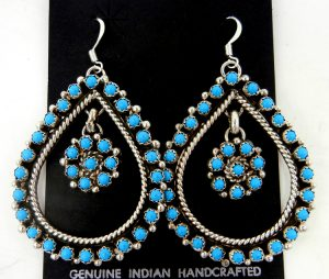 Zuni large turquoise and sterling silver tear drop and flower pattern dangle earrings