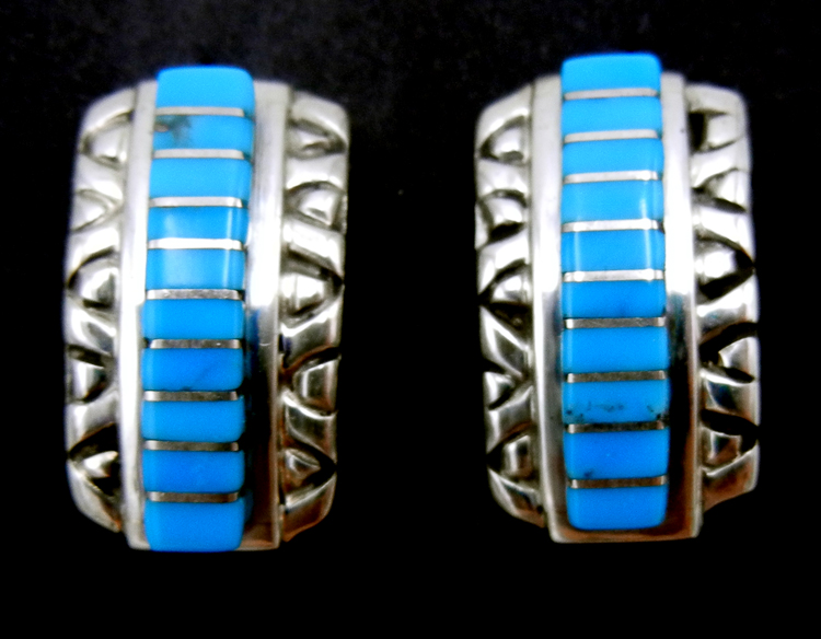 Zuni turquoise and sterling silver channel inlay post earrings