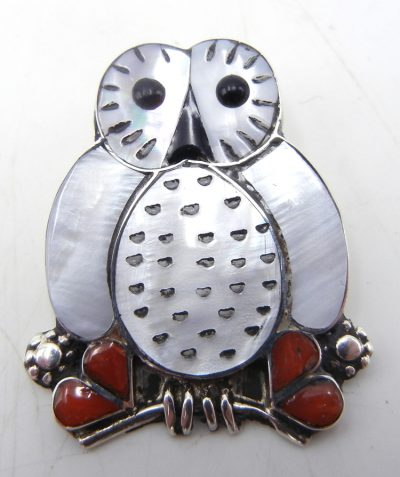 Zuni multi-stone inlay and sterling silver owl pendant