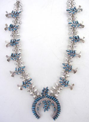 Zuni turquoise needlepoint and sterling silver squash blossom necklace and earring set
