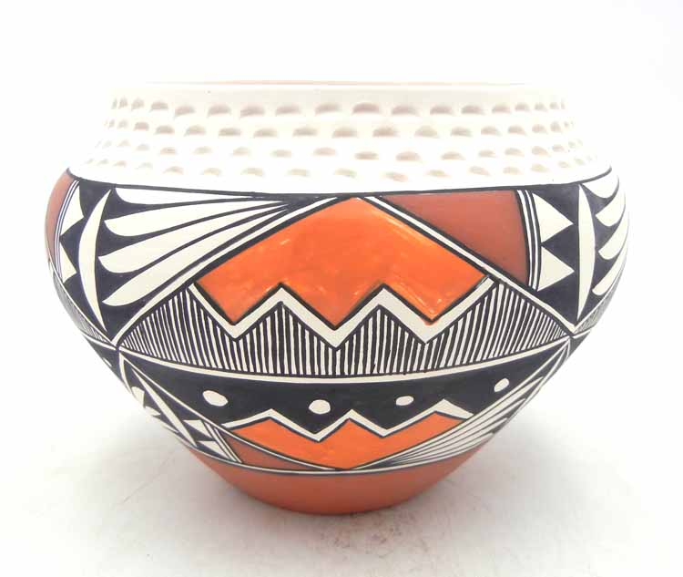 Acoma handmade polychrome jar with corrugated rim by Beverly Garcia