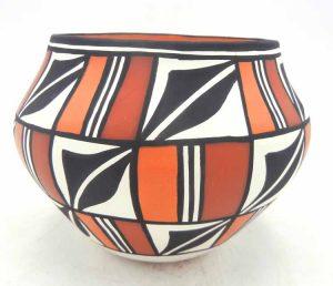 Acoma handmade polychrome weather pattern jar by Loretta Joe