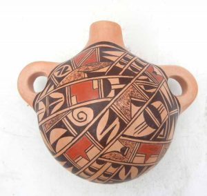 Hopi handmade and hand painted multi-design canteen by Emma Naha