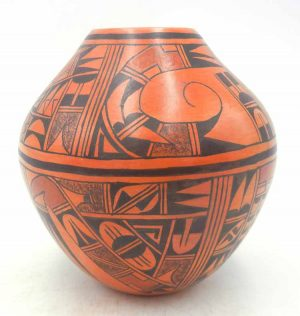 Hopi handmade and hand painted multi-design jar by Emma Naha