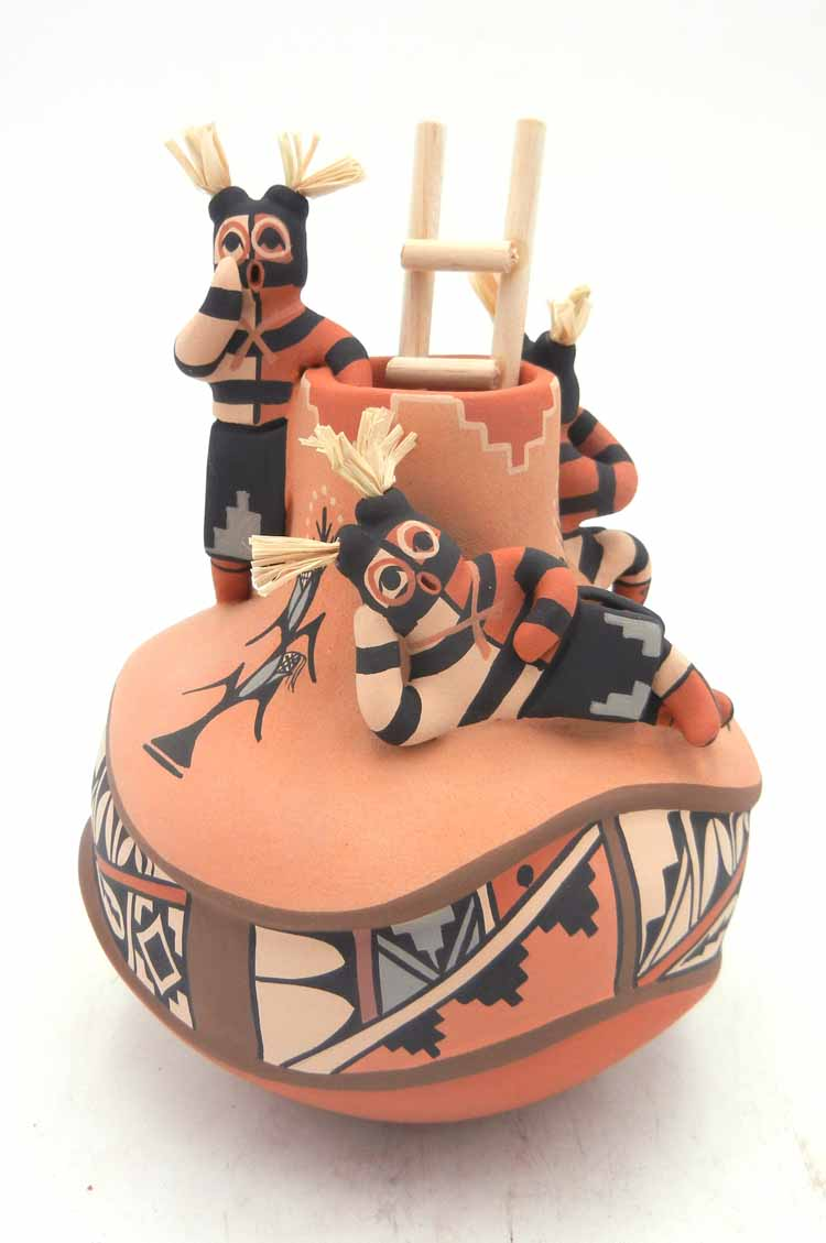 Jemez handmade and hand painted koshare friendship vase by Linda Lucero Fragua
