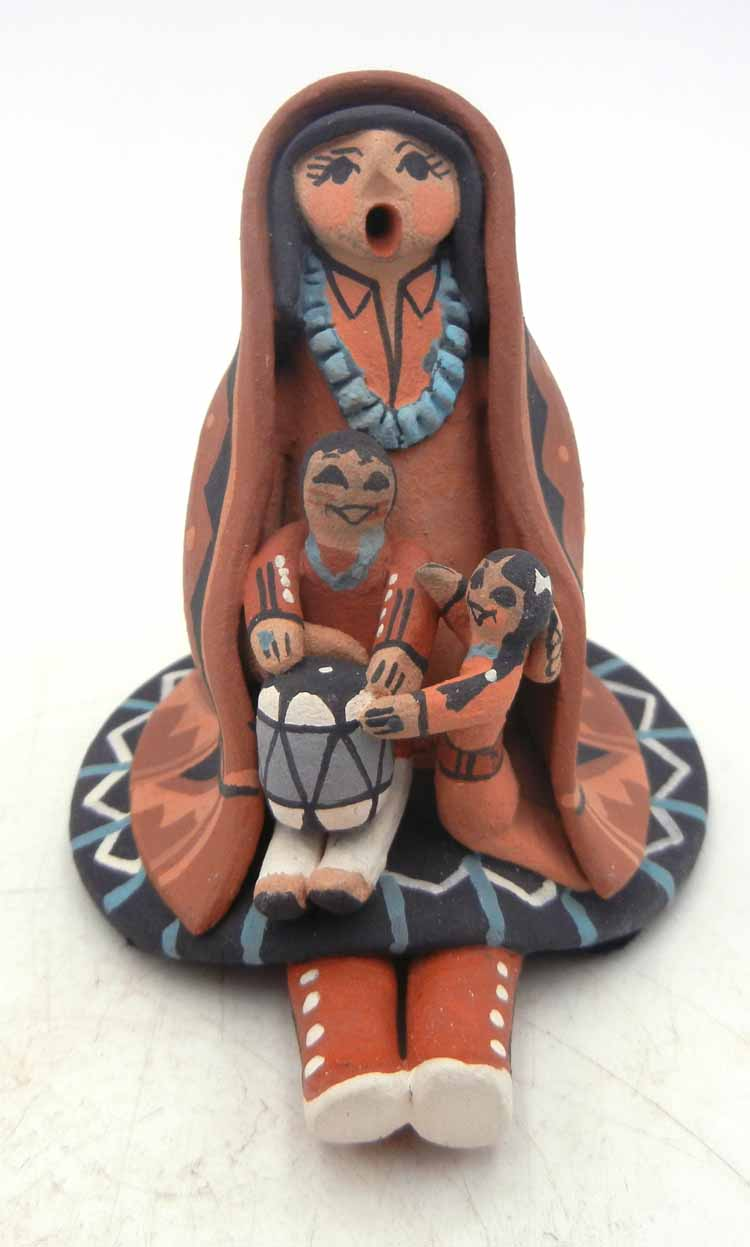 Jemez small seated storyteller with two children by Carol Lucero Gachupin