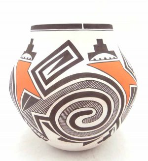Laguna handmade and hand painted polychrome tularosa design jar by Myron Sarracino