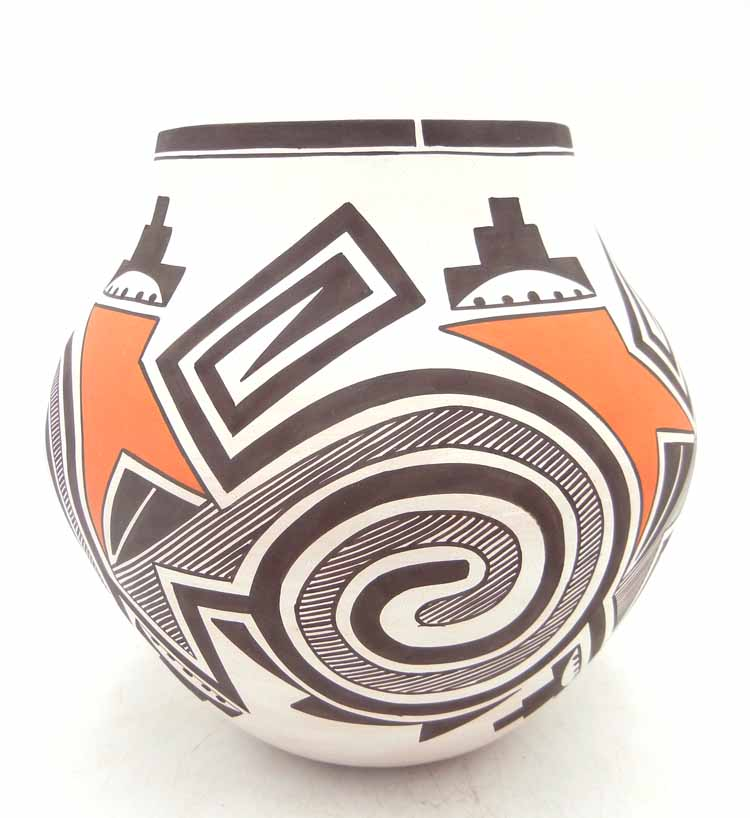 Laguna handmade and hand painted polychrome tularosa design jar by Myron Sarracino