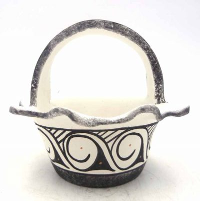 Zuni handmade black and white serpent and wave pattern clay basket by Darla Westika
