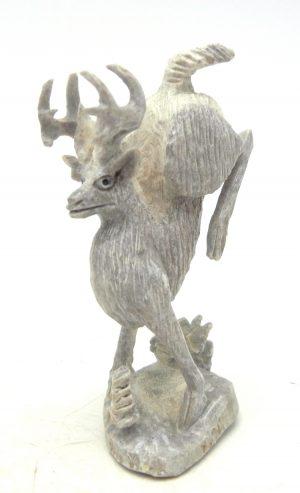 Zuni carved stone deer antler bucking deer fetish by Pernell Laate