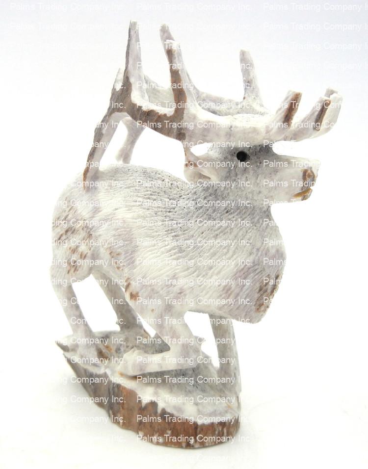 Zuni carved stone elk antler elk fetish by Todd Lowasayatee