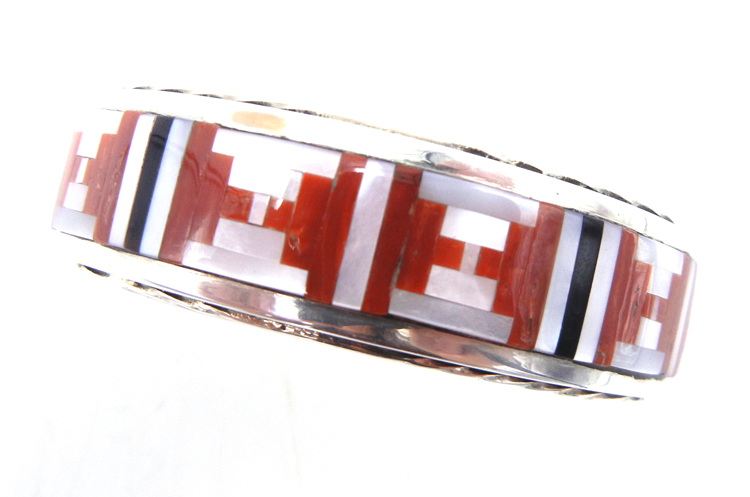 Navajo multi-stone inlay and sterling silver cuff bracelet