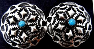 Navajo brushed sterling silver and turquoise stamped and reoussed earrings by Leander Tahe
