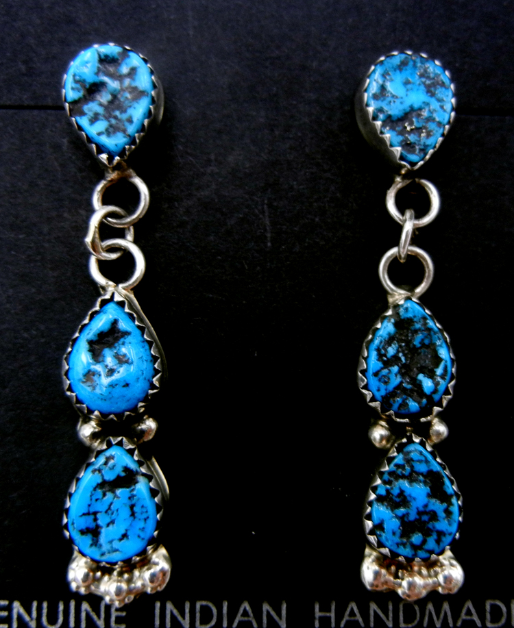 Navajo three stone turquoise nugget and sterling silver dangle earrings by Pearlene Spencer