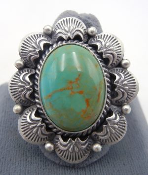 Navajo green turquoise and sterling silver ring