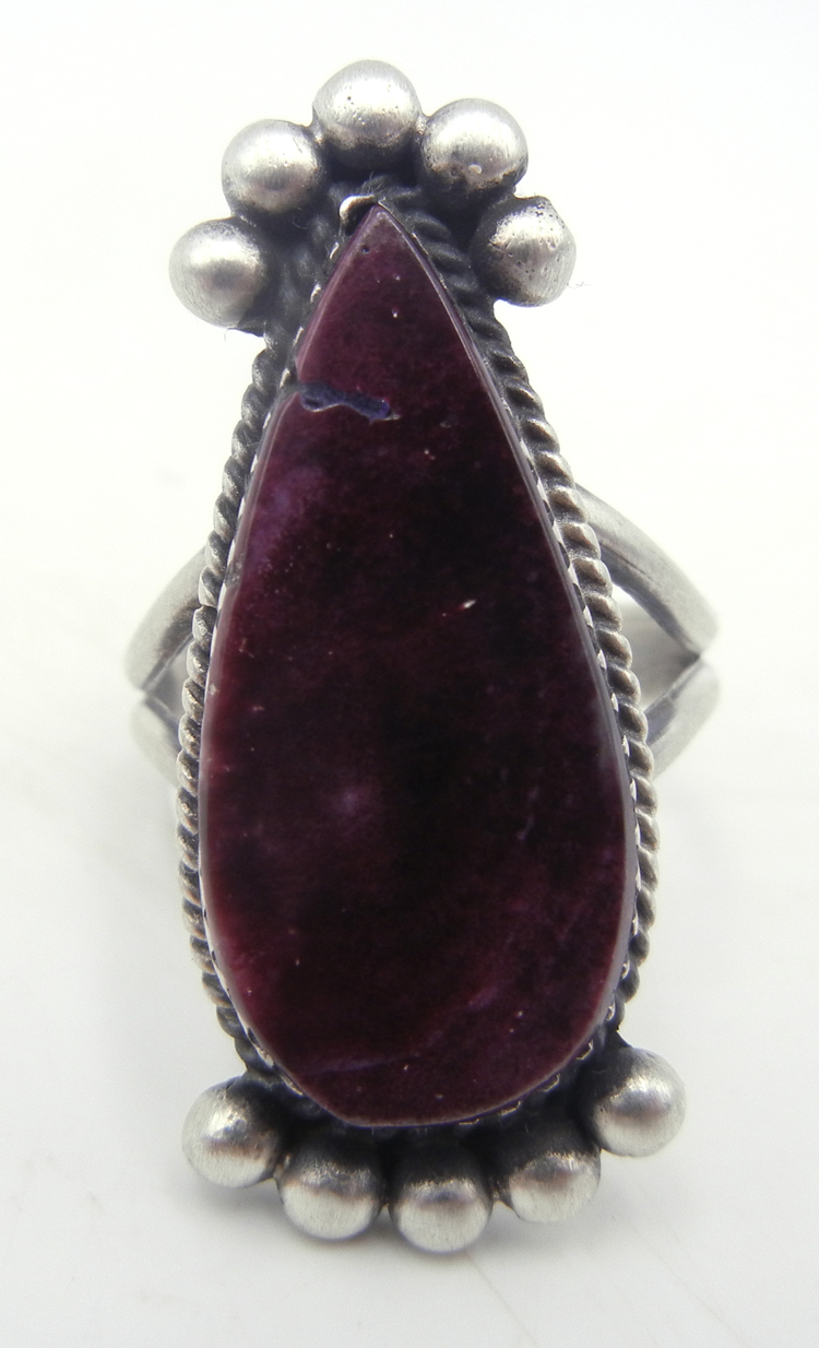 Navajo purple spiny oyster shell and sterling silver ring by Selina Warner