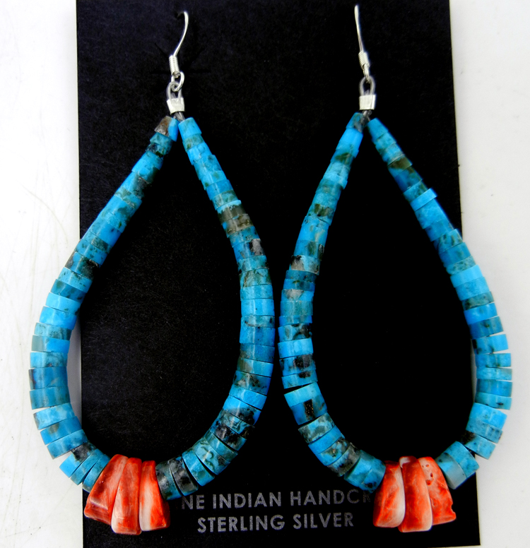 Santo Domingo turquoise and red spiny oyster jacla earrings by Lupe Lovato